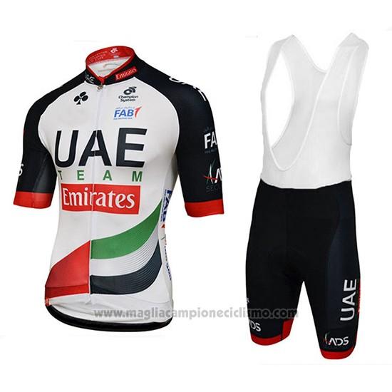 6cfea9aecc61 2018 Abbigliamento Ciclismo UCI Mondo Campione Leader UAE Bianco Manica  Corta e Salopette