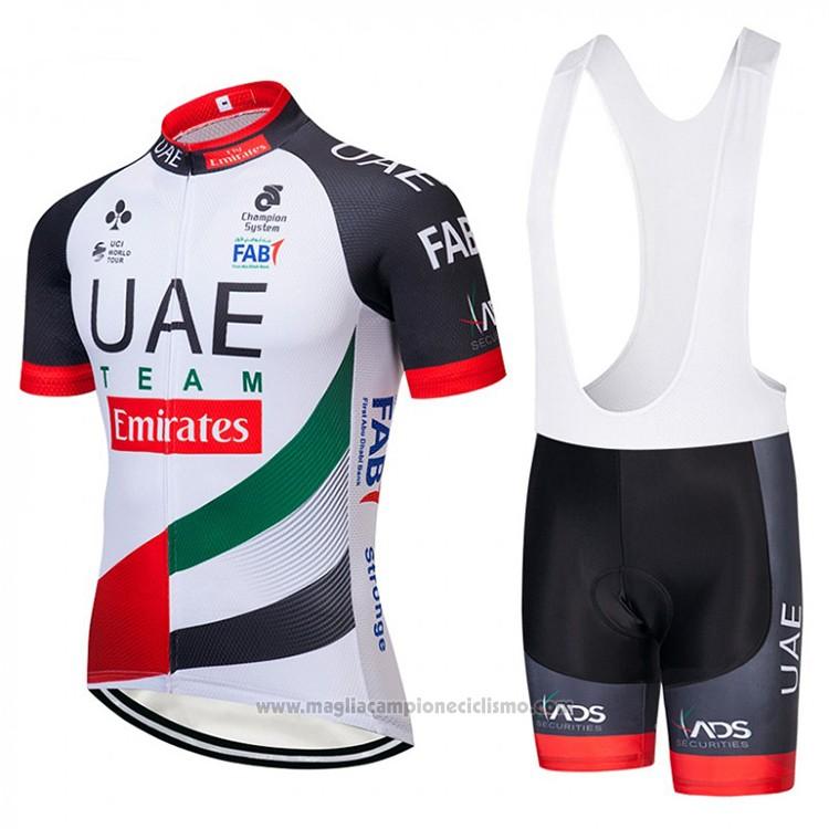 19ecd47fc8e8 2018 Abbigliamento Ciclismo UCI Mondo Campione UAE Bianco Manica Corta e  Salopette