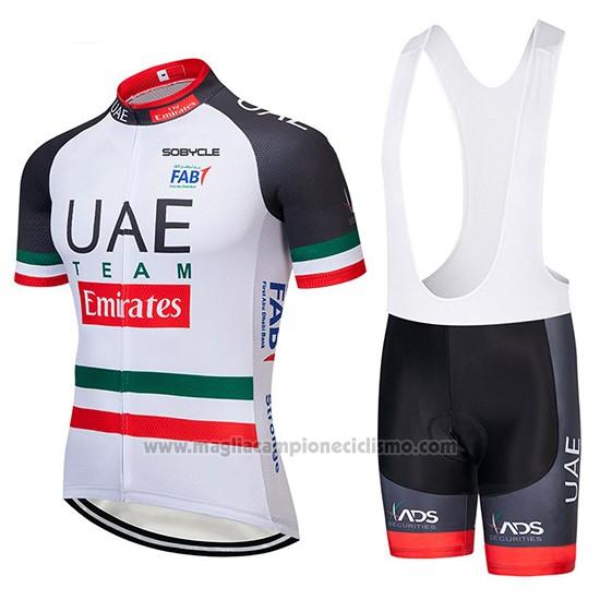 658e50b4479c 2019 Abbigliamento Ciclismo UCI Mondo Campione UAE Bianco Nero Rosso Manica  Corta e Salopette